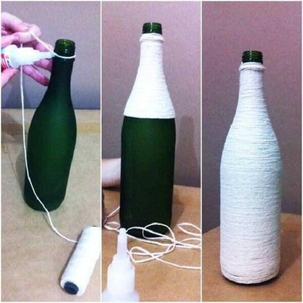 Decoração da garrafa de vidro com barbante
