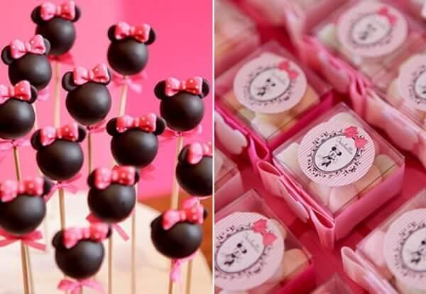 Cakepop e balinhas sortidas para festa da Minnie