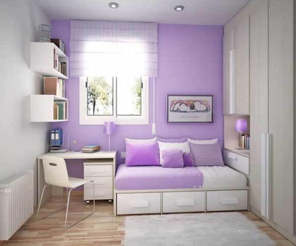 Cor lilás na decoração de quarto de adolescente