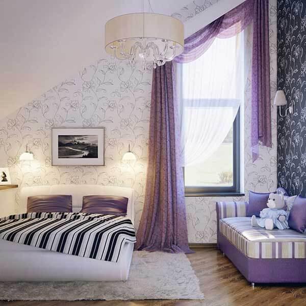 Cor lilás na decoração de quarto de casal sofisticado