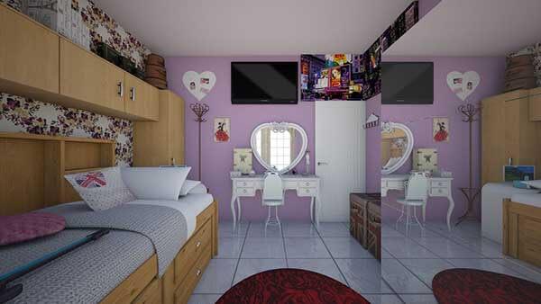 Cor lilás na parede do quarto