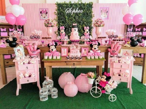 Decoração de mesa para festa da minnie rosa