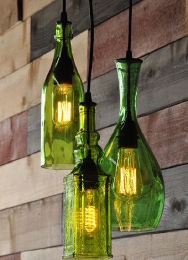 Crie luminárias usando o artesanato com garrafa de vidro na cor verde