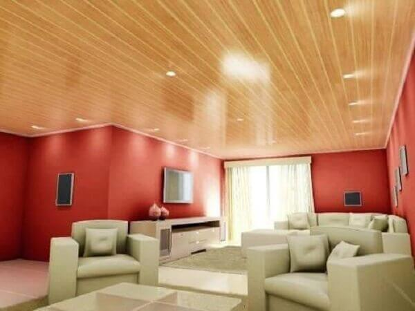 Forro de madeira pvc em sala de estar