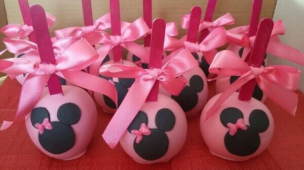 Maça personalizada festa da minnie rosa