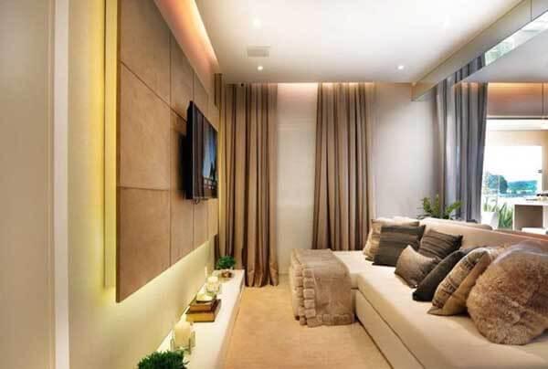 Modelos de cortinas com painel de tv