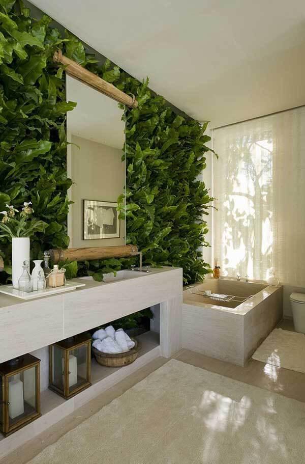 Modelos de cortinas para banheiro com jardim vertical