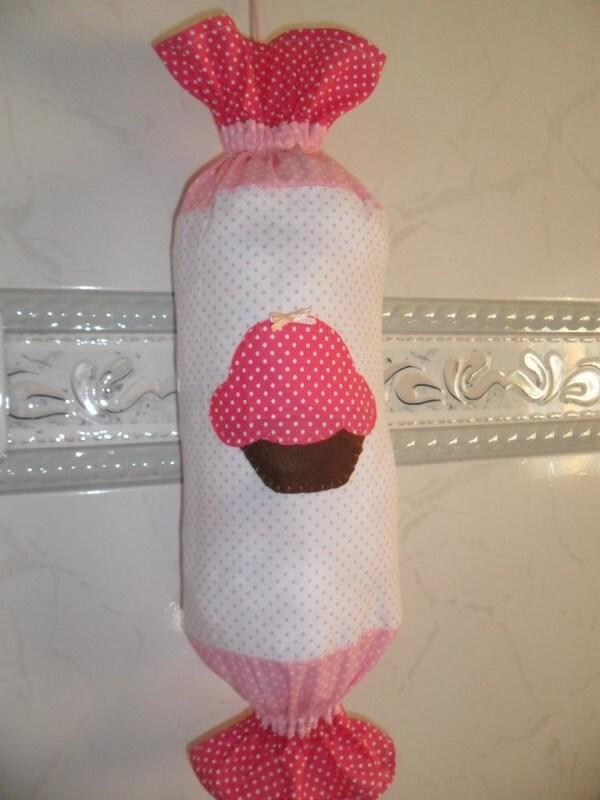 Puxa saco de tecido com estampa de cupcake