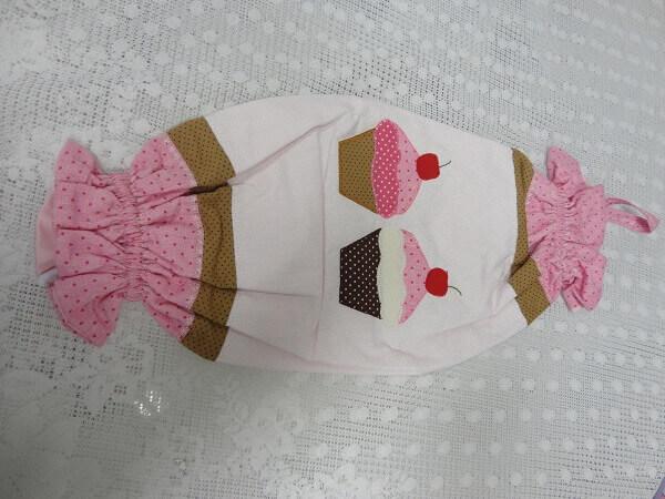 Puxa saco de tecido com estampa de sorvete