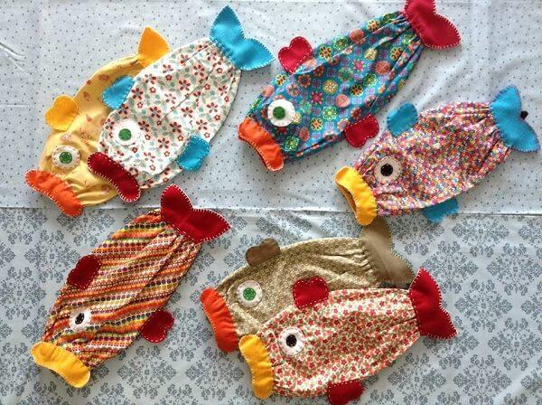 Puxa saco de tecido com estampas de peixe