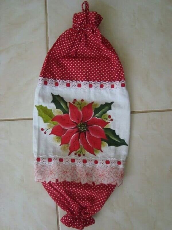 Puxa saco de tecido com trabalho de pintura ao centro