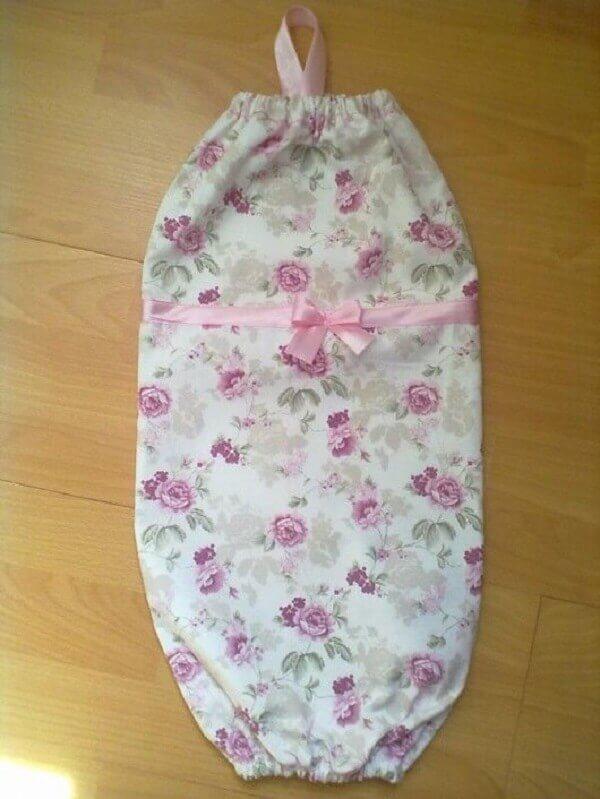 Puxa saco de tecido simples com estampa floral