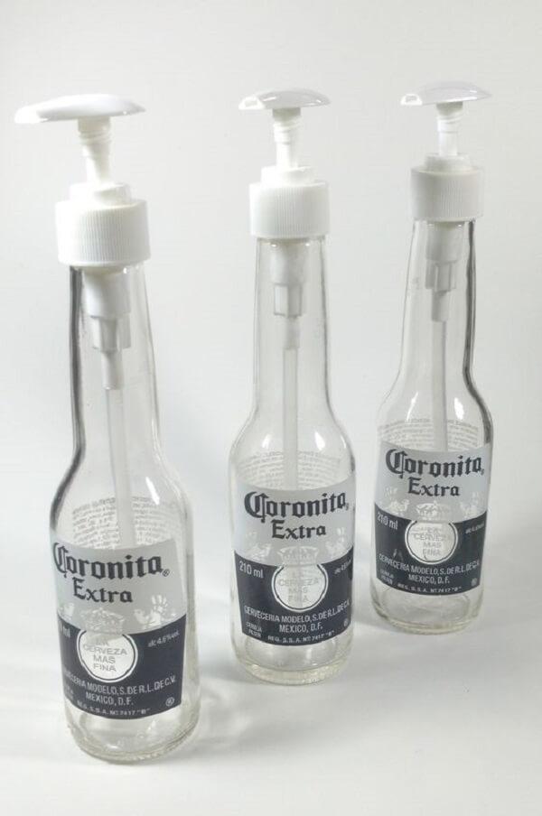 Suporte para sabonete líquido com garrafa de vidro