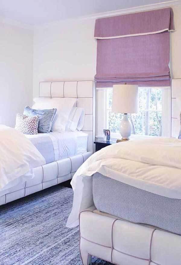 cor lilás na cortina de quarto