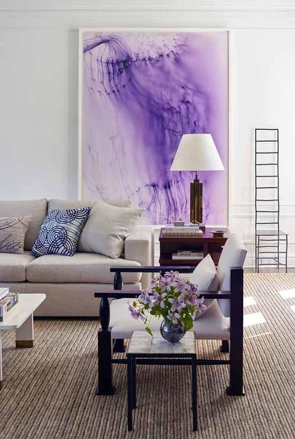 cor lilás no quadro de sala de estar