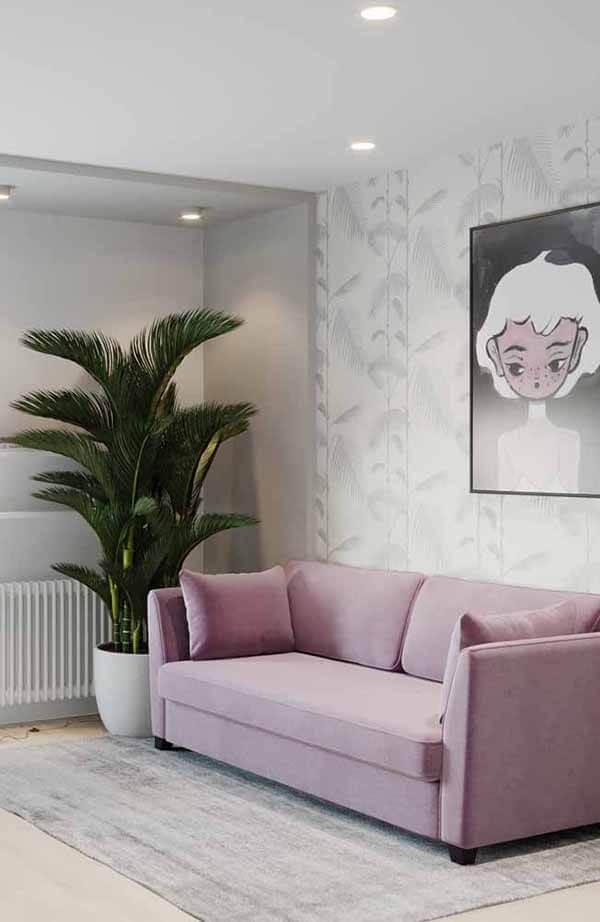 cor lilás no sofá da sala