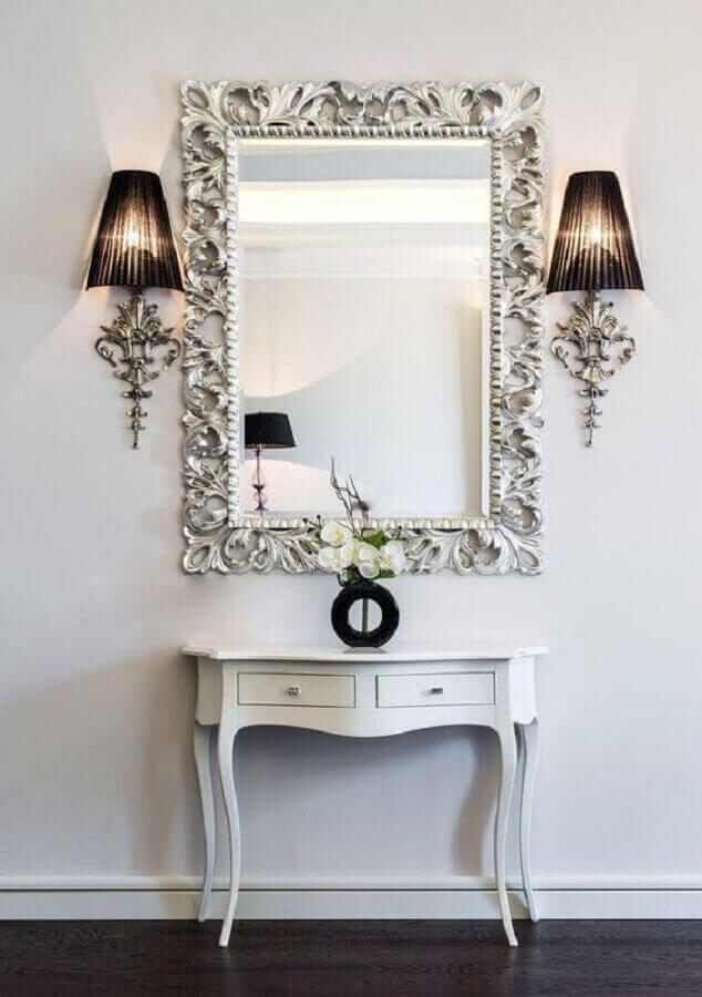 decoração clean com espelho provençal branco Foto 10deco