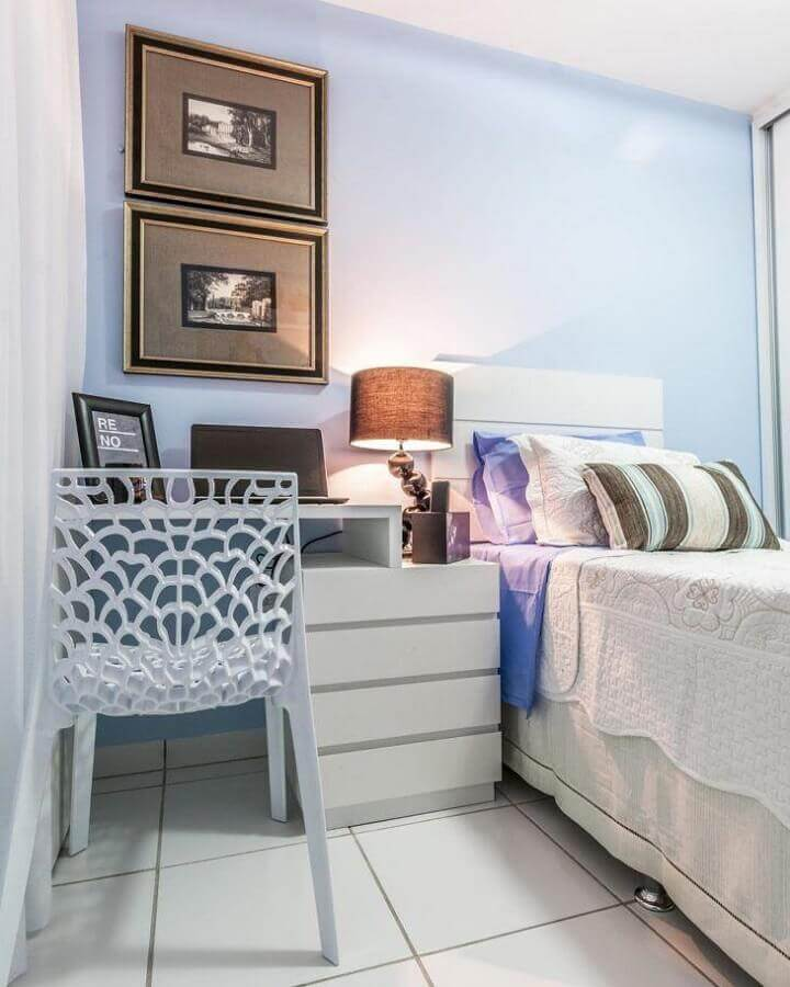 decoração clean para quarto azul e branco Foto Renove Projetos
