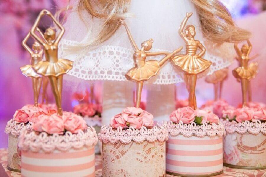 decoração festa bailarina rosa e dourado Foto Aaronguide