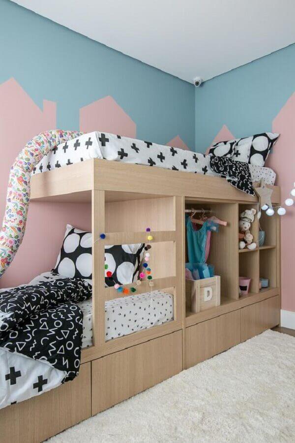 decoração infantil para quarto azul e rosa Foto Eliziê Ribeiro