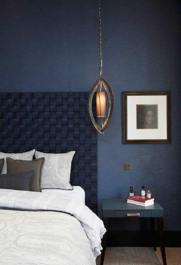 decoração moderna para quarto azul com cabeceira diferente Foto Modern Bedroom