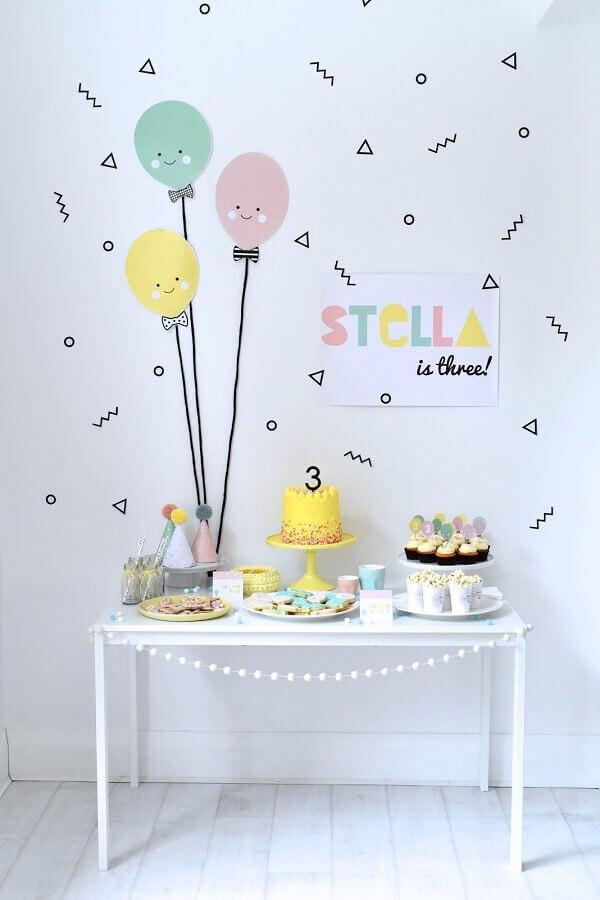 decoração para festa de aniversário simples  Foto All Lovely Party