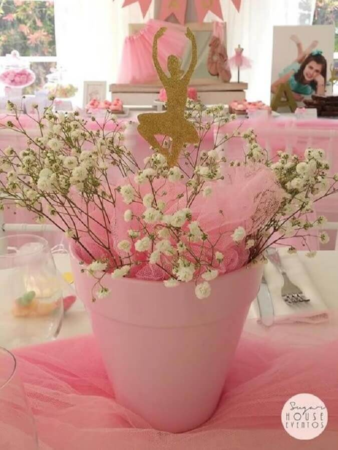 decoração para mesa de convidados em festa bailarina Foto Suzan House Eventos