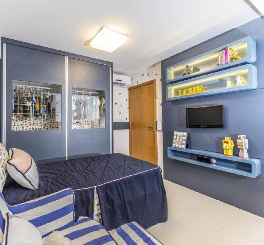 decoração para quarto azul infantil Foto Renove Projetos