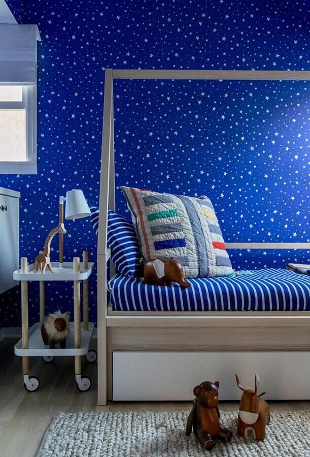 decoração para quarto azul infantil com papel de parede de estrelinha Foto Air Freshener