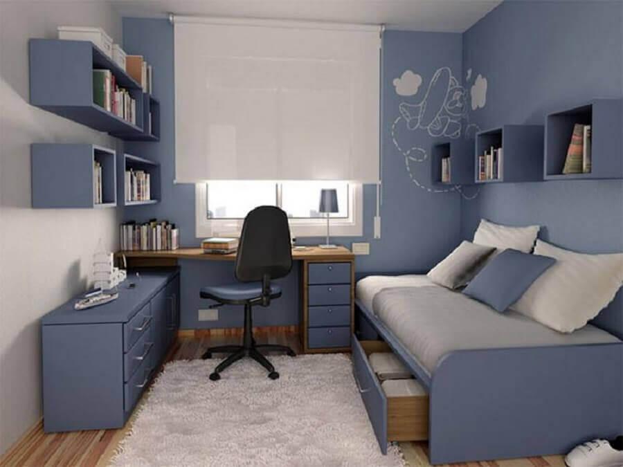 decoração para quarto azul planejado simples Foto Pinosy