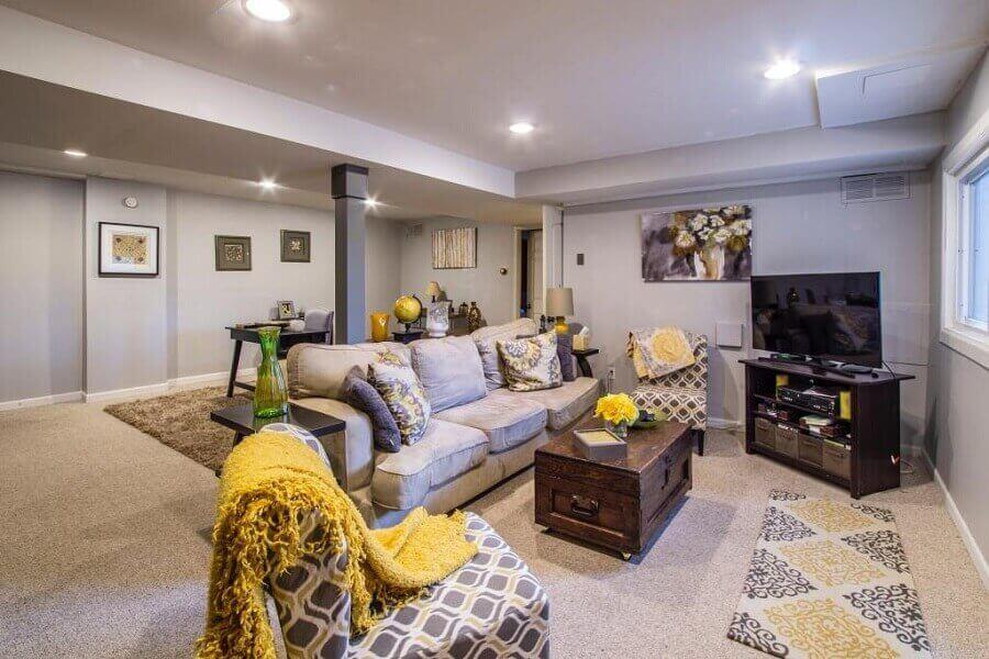 decoração para sala cinza e amarela Foto Pexels