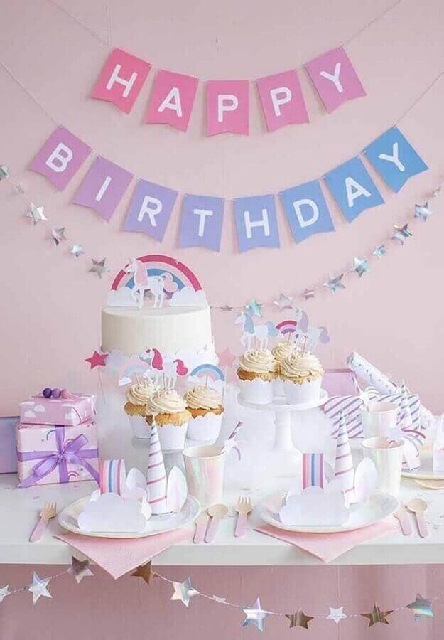 decoração simples de festa de aniversário  de unicórnio Foto Pinterest