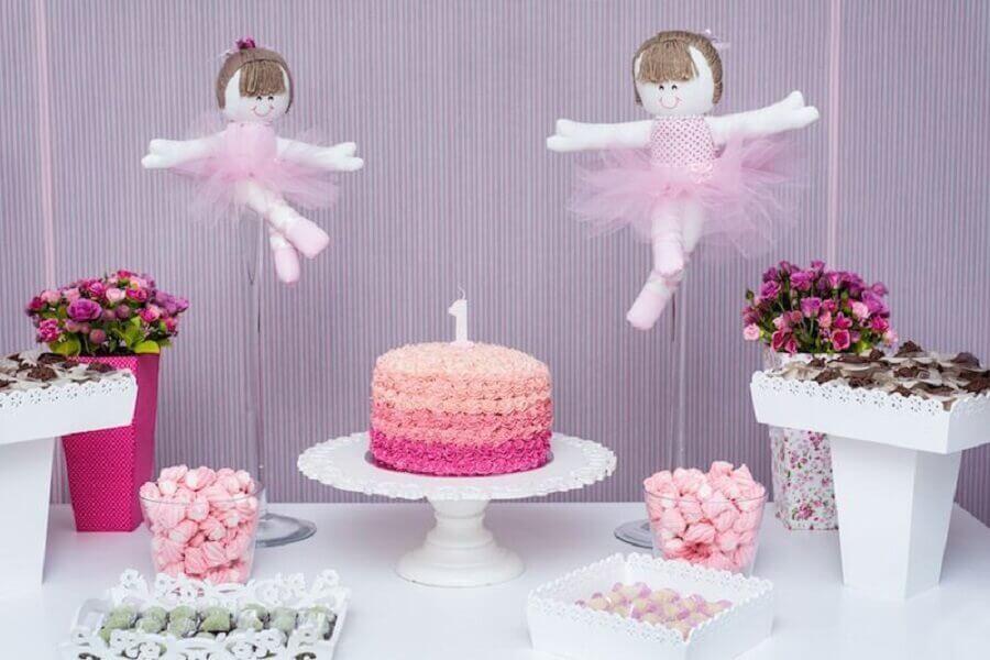 decoração simples para festa bailarina Foto Pinterest