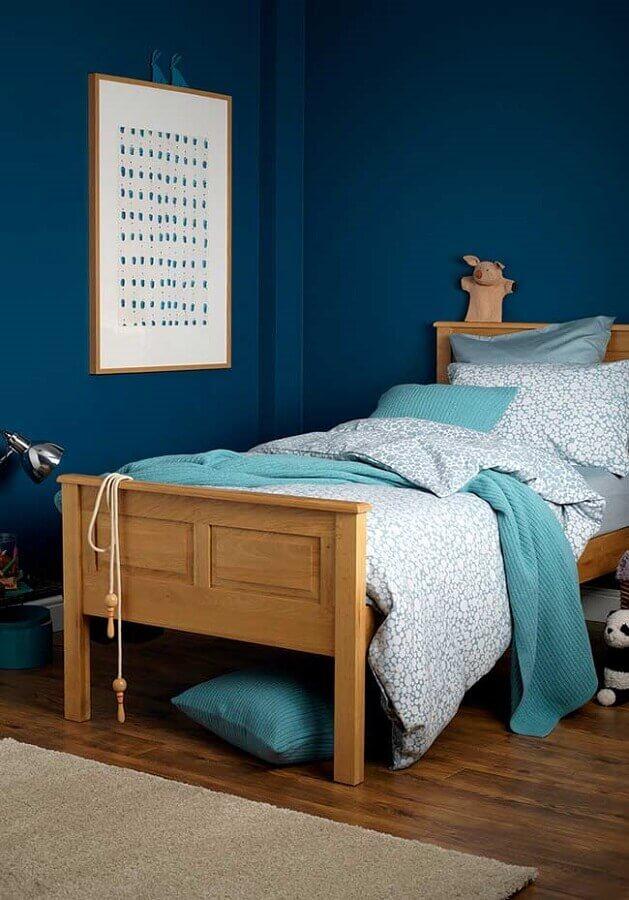 decoração simples para quarto azul de solteiro Foto Pinterest
