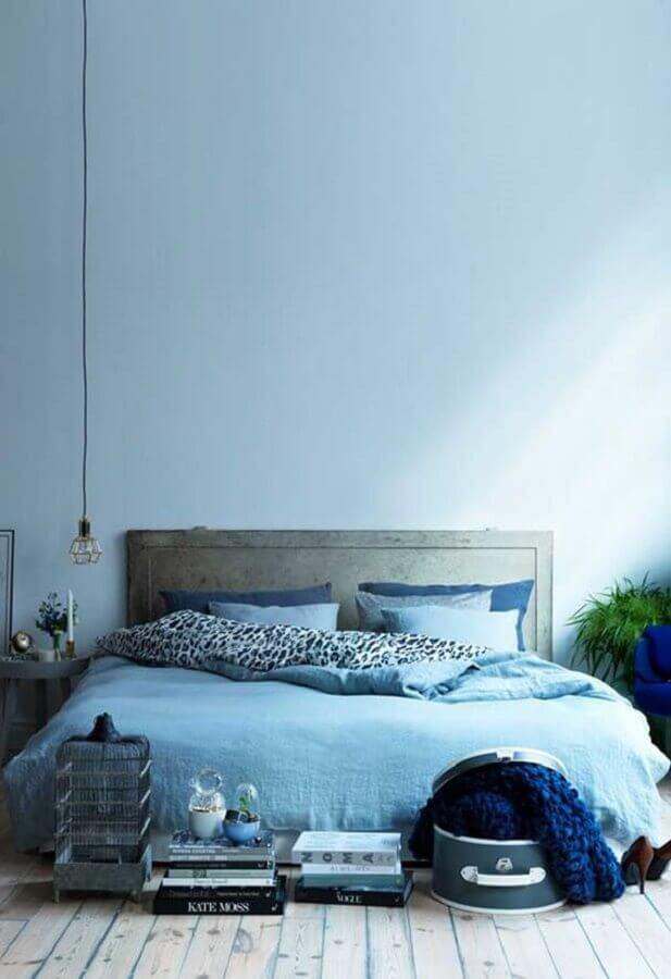 decoração simples para quarto de casal azul Foto Mianamnesis