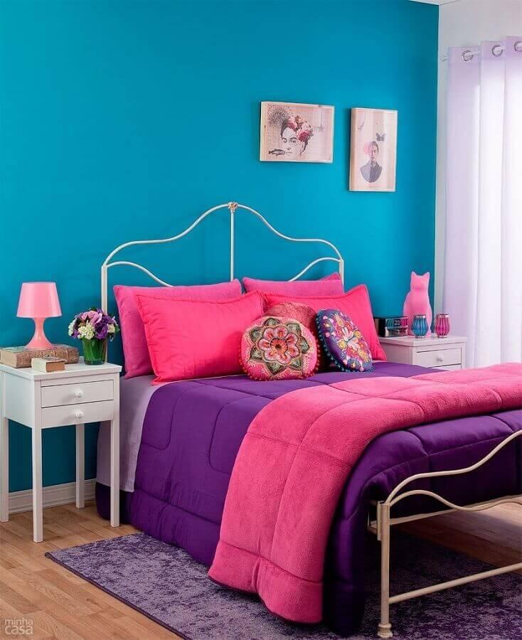 decoração simples para quarto de menina azul e rosa Foto Otimizi Ambientes