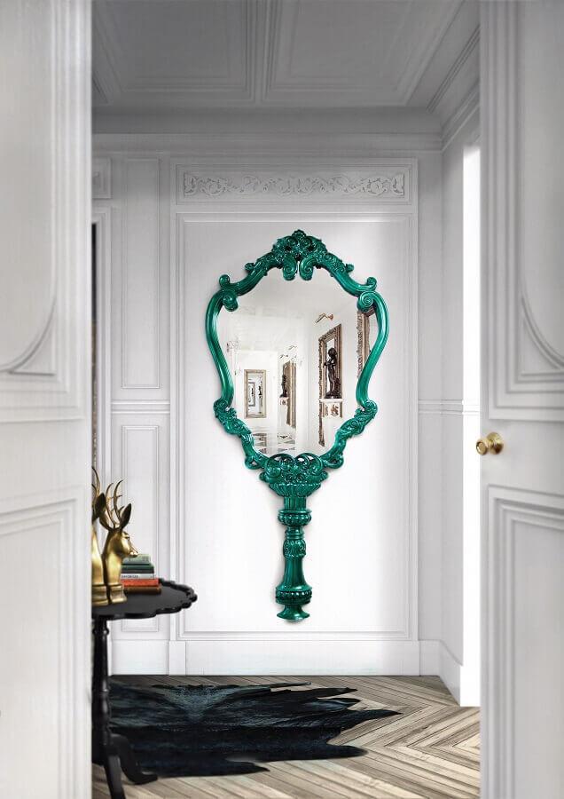 espelho provençal com moldura verde  Foto Boca do Lobo