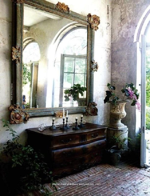 espelho provençal grande para decoração rústica Foto Pinterest