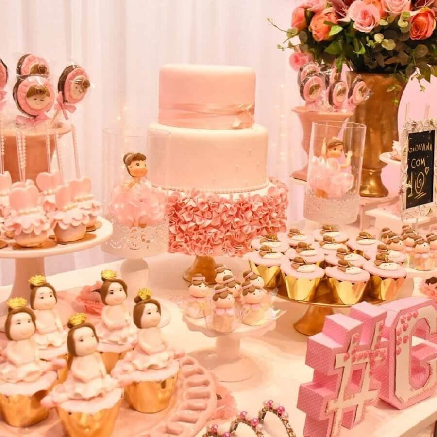 festa bailarina rosa e dourada Foto Buffet Fun Jungle