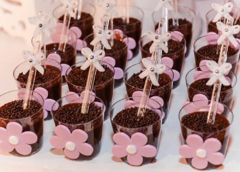 festa da bailarina com potinhos de doces decorados com lacinhos Foto Espaço Infantil