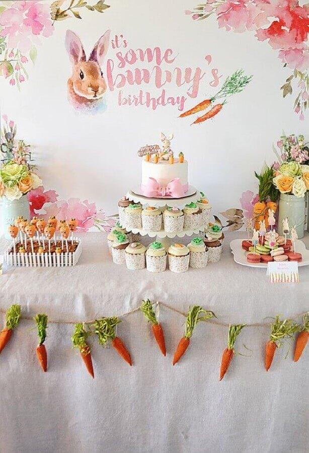 festa de aniversário com decoração de páscoa  Foto Etsy