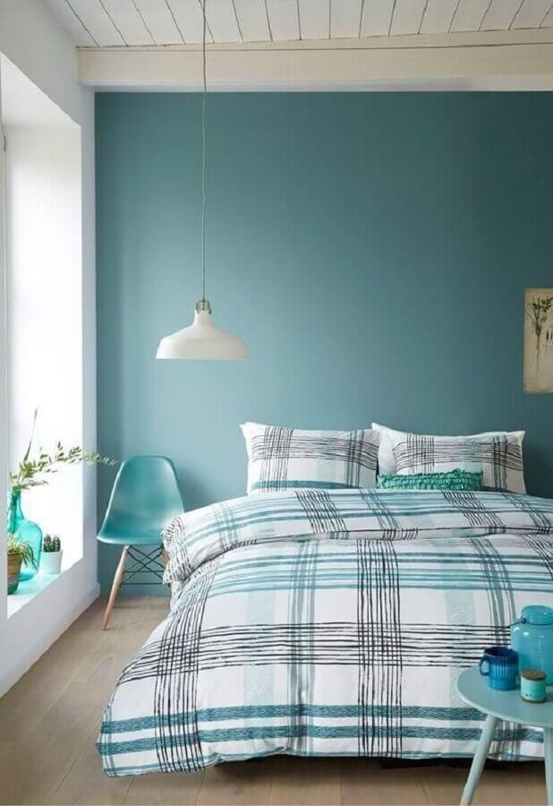 quarto azul turquesa decorado com luminária pendente branca Foto Air Freshener