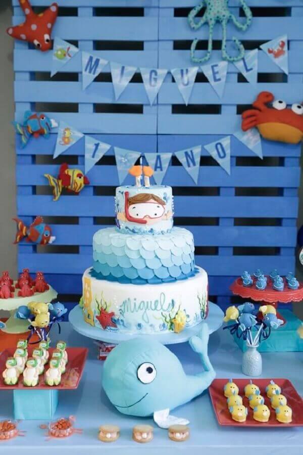 tema fundo do mar para festa de aniversário infantil Foto Pinosy