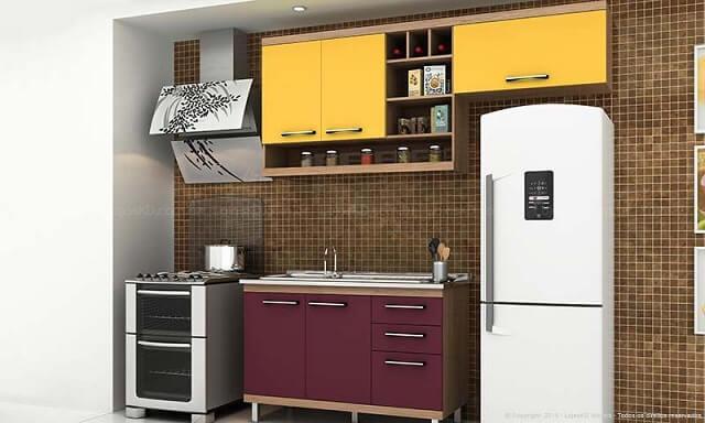 Combinação de cores amarelo e roxo Projeto de LojasKD
