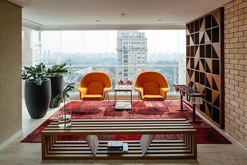 Combinação de cores análogas vermelho e laranja Projeto de FC Studio