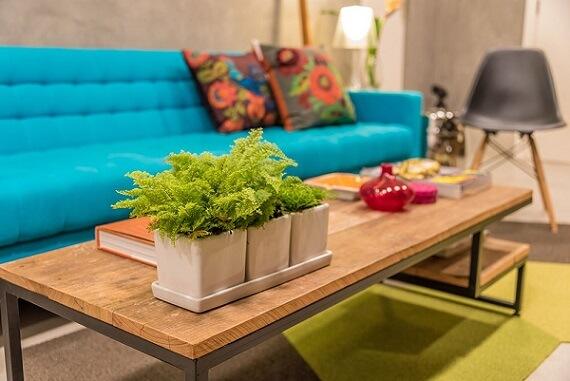 Combinação de cores verde e azul Projeto de Viviane de Pinho