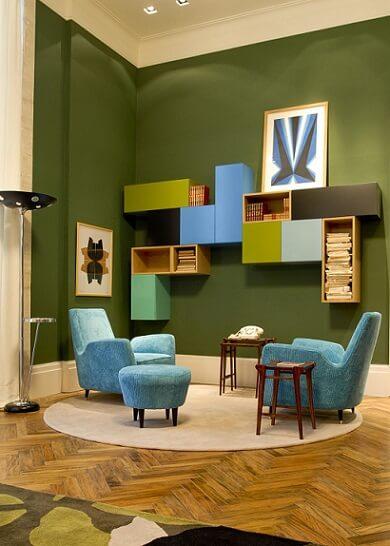 Combinação de cores verde e azul turquesa Projeto de AMC Arquitetura