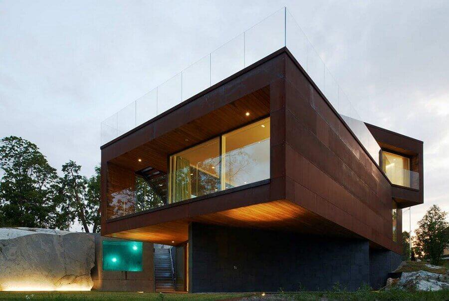 Fachada revestida de aço corten -  Foto Construindo Minha Casa