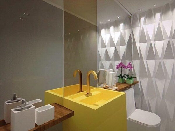 Pia de porcelanato esculpida amarela