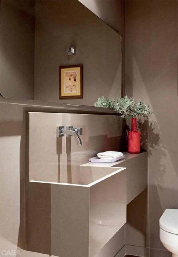 Pia de porcelanato esculpida para banheiro